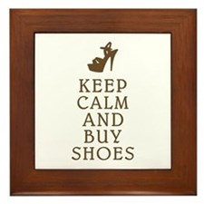 KEEP CALM AND BUY SHOES BROWN.png Framed Tile