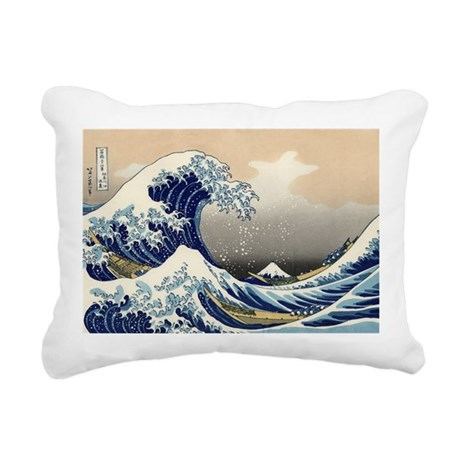 Kanagawa The Great Wave Rectangular Canvas Pillow