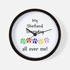 Shetland Sheepdog Walks Wall Clock