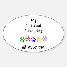 Shetland Sheepdog Walks Oval Decal