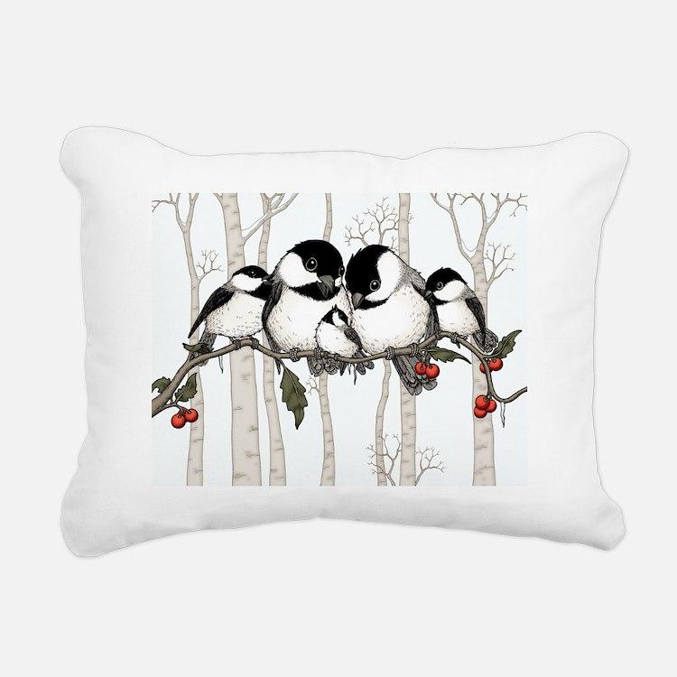 Chickadee Family Rectangular Canvas Pillow
