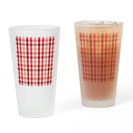 red plaid Drinking Glass