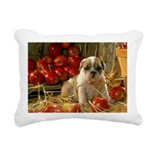 BULLDOG APPLES PUPPY Rectangular Canvas Pillow