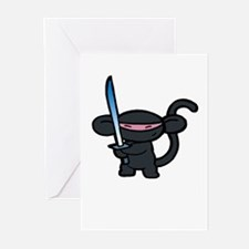 Black Minky with Shiny Sword  Greeting Cards (Pack