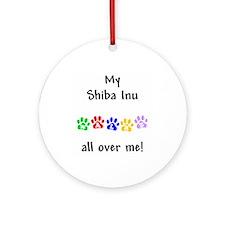 Shiba Inu Walks Ornament (Round)