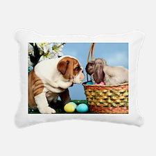 BULLDOG & EASTER BUNNY Rectangular Canvas Pillow