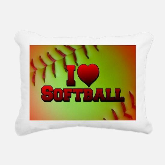 I Love Softball (Optic Yellow) Rectangular Canvas