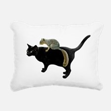 Squirrel on Cat Rectangular Canvas Pillow