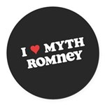I Heart Myth Romney Round Car Magnet