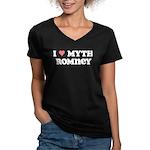 I Heart Myth Romney Women's V-Neck Dark T-Shirt