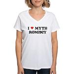 I Heart Myth Romney Women's V-Neck T-Shirt