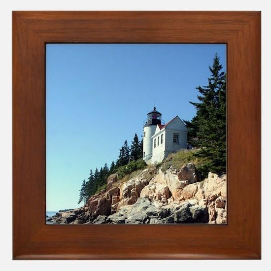 Bass Harbor Light Framed Tile