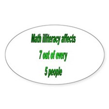 Math Illiteracy Oval Decal