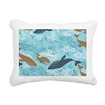 Whale Waves Brown Blue Rectangular Canvas Pillow