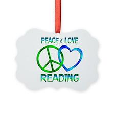 Peace Love Reading Ornament