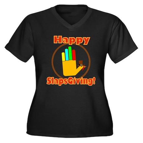 Happy Slaps Giving Women's Plus Size V-Neck Dark T