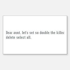 dear aunt, let's set double the killer select all