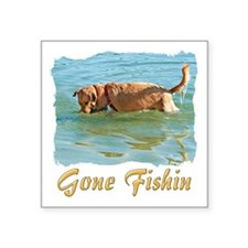 "Golden Gone Fishing Square Sticker 3"" x 3"""