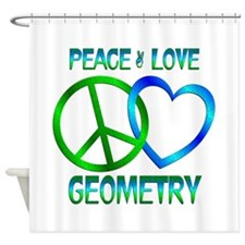 Peace Love Geometry Shower Curtain