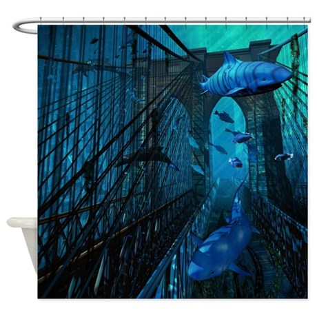 Bridge and Sharks Shower Curtain