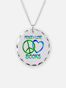 Peace Love Books Necklace