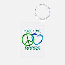 Peace Love Books Aluminum Photo Keychain