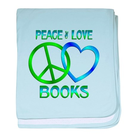 Peace Love Books baby blanket