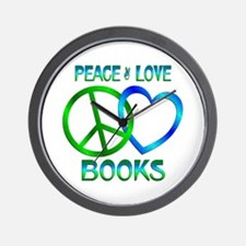 Peace Love Books Wall Clock