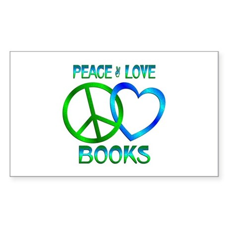 Peace Love Books Sticker (Rectangle)
