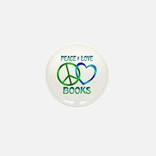 Peace Love Books Mini Button (10 pack)