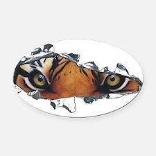 Tiger eyes in torn steel.png Oval Car Magnet