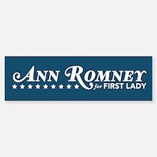 Ann Romney For First Lady (Blue) Bumper Bumper Sticker