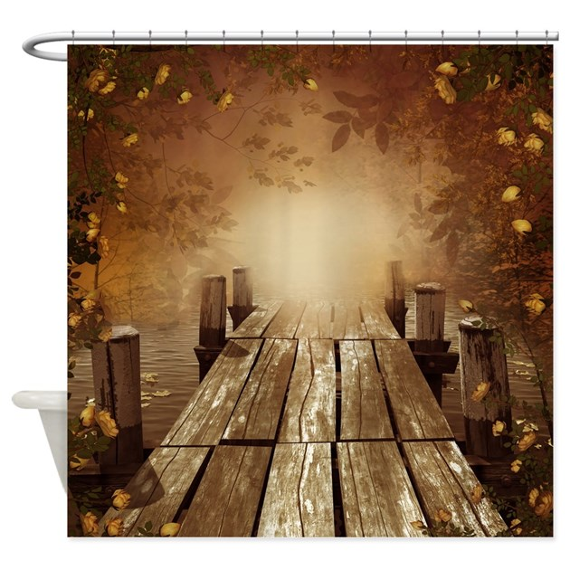 Autumn fishing pier shower curtain by showercurtainshop for Fishing shower curtain