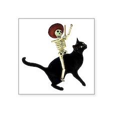 "Skeleton on Cat Square Sticker 3"" x 3"""