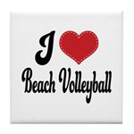 I Love Beach Volleyball Tile Coaster
