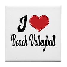 I Love Beach Volleyball Tile Coaster
