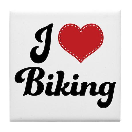 I Love Biking Tile Coaster