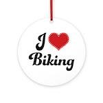 I Love Biking Ornament (Round)