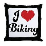 I Love Biking Throw Pillow