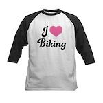 I Love Biking Kids Baseball Jersey