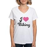 I Love Biking Women's V-Neck T-Shirt