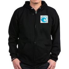 Ocean Wave Design Zip Hoodie