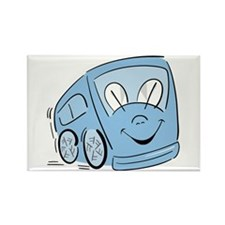 BLUE HAPPY BUS Rectangle Magnet (100 pack)