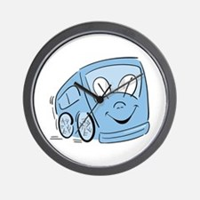 BLUE HAPPY BUS Wall Clock