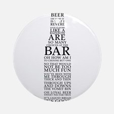 Ode to Beer Bottle Ornament (Round)