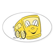 YELLOW HAPPY BUS Oval Decal