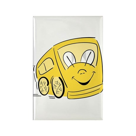 YELLOW HAPPY BUS Rectangle Magnet (10 pack)