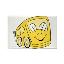 YELLOW HAPPY BUS Rectangle Magnet