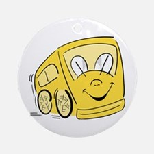 YELLOW HAPPY BUS Ornament (Round)