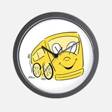 YELLOW HAPPY BUS Wall Clock